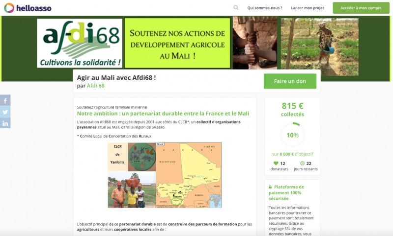 HelloAsso, Afdi 68, Mali, appel, dons, clcr, solidarité, soutien, agriculture, familiale, afrique, a